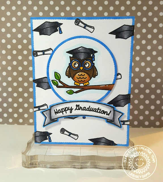 Sunny Studio Stamps: Woo Hoo Happy Graduation Owl Cap & Diploma Card by Lindsey Bailey.