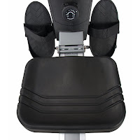 Padded seat & large anti-slip foot pedals on Sunny Health & Fitness SF-RW5623 Rower