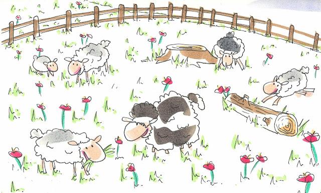 Dibujo de una oveja con mucha lana que no quiere ser esquilada
