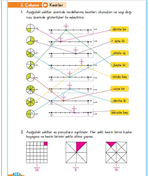 3. Sınıf Berkay Yayınları Matematik Çalışma Kitabı 104. Sayfa Cevapları 2. Çalışma Kesirler