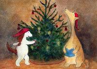 Postcard illustration of Hulmu Hukka and Haukku Spaniel singing and playing music at front of a Christmas tree