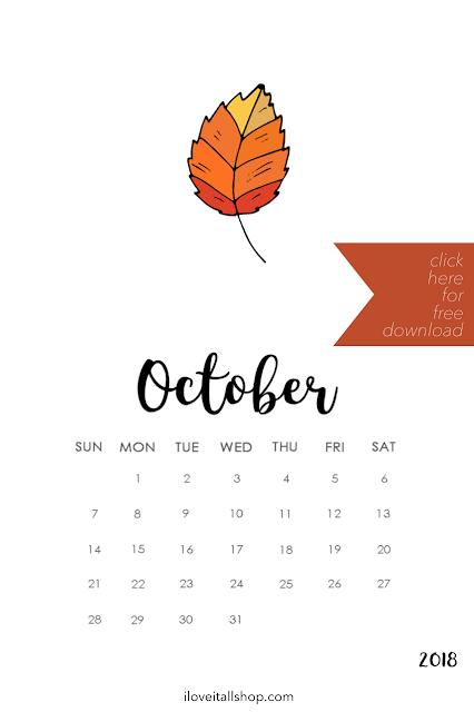 Free October Calendar
