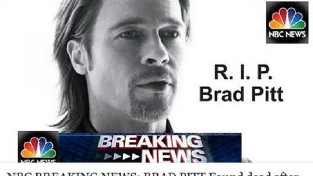 'Muere Brad Pitt', el último y peligroso virus de Internet