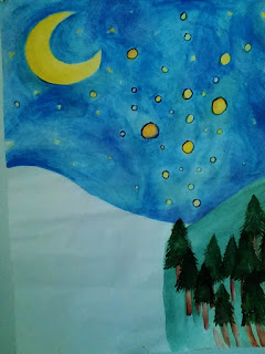 watercolor of a snowy starry night with pine trees by amy lukavics