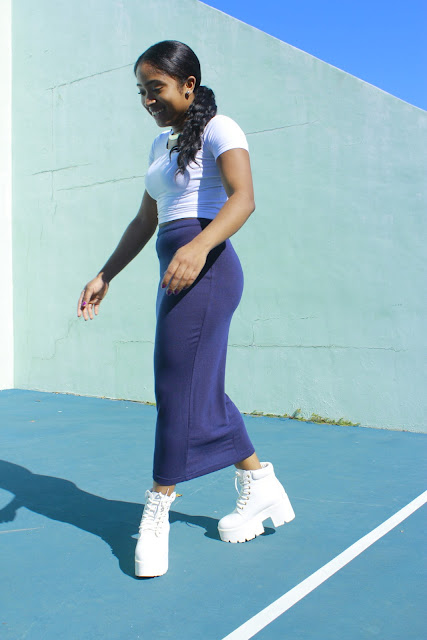 42 Back to School Outfits To Start The Year Off Right! thrifted thrift store black girl magic cropped shirt form fitted maxi skirt platform shoes