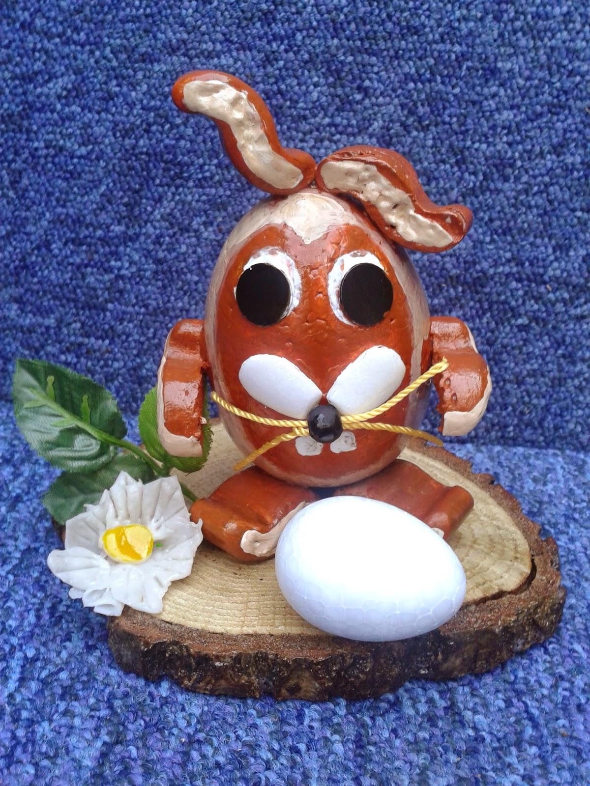 zajac z jajka styropian, rrecznie robiony