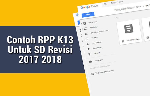 Contoh RPP K13 Untuk SD Revisi 2017 2018