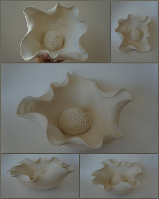 Porcelain Tanis Saxby inspired sculptural bowl by Lily L.
