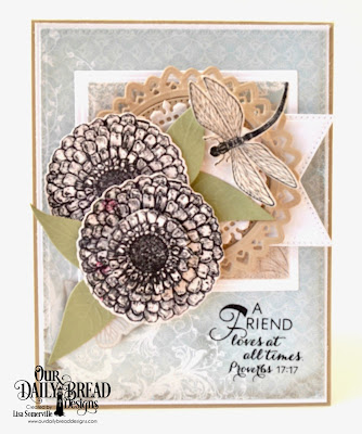 Our Daily Bread Designs Zinnia Bundle, Stamp/Die Duos: Friend to Friend, Custom Dies: Pierced Circles, Pierced Rectangles, Pierced Squares, Squares, Filigree Circles, Fancy Circles, Large Banner, Paper Collections: Shabby Rose, Shabby Pastels