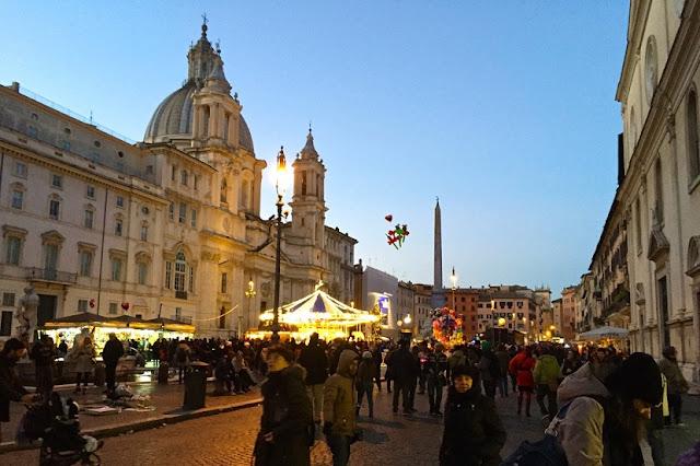 Piazza Navona em Roma durante o Ano Novo