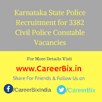 Karnataka State Police Recruitment for 3382 Civil Police Constable Vacancies