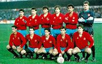 SELECCIÓN DE ESPAÑA SUB 21 - Temporada 1990-91 - Villabona, Tabuenca, Luis Enrique, Solozábal, Abelardo, Kike; Galdámes, Larrazábal, Manjarín, Escurza y Lasa - CHECOSLOVAQUIA Sub21 3 (Latal y Majoros 2), ESPAÑA Sub21 1 (Abelardo) - 13/11/1990 - Campeonato de Europa Sub21, fase de clasificación - Ceske Budejovice, Checoslovquia, estadio Dynamo