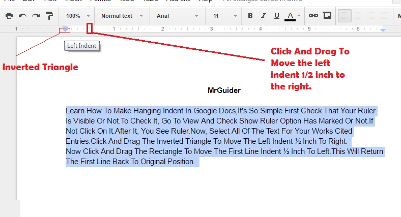 how to indent in google drive