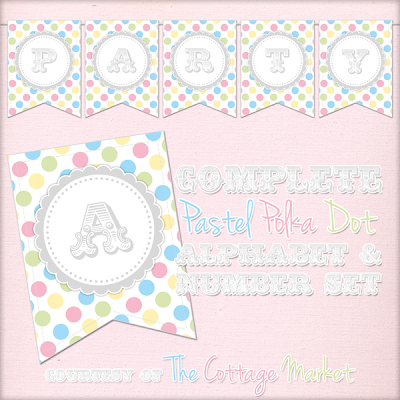 This pastel polka dot banner is great for a baby shower celebration.