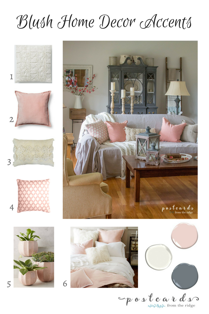 blush color home decor and paint