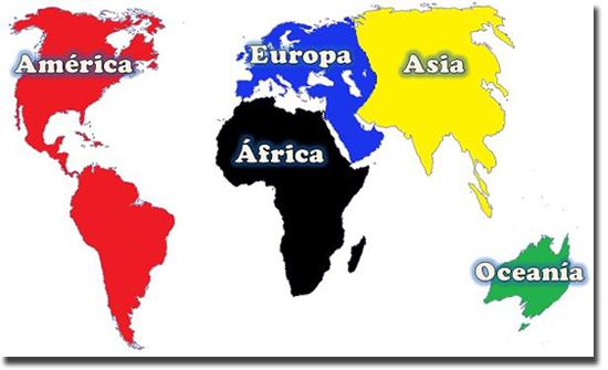 Mapa Mundi 5 Continentes