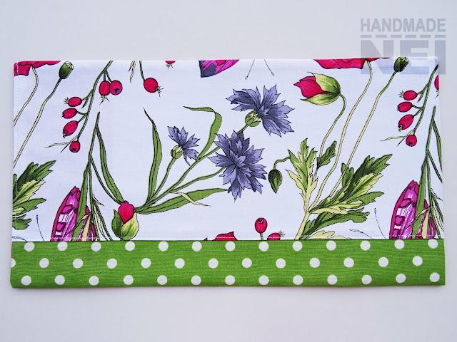 """Handmade Nel: Калъф за книга от плат """"Макове и шипки"""""""
