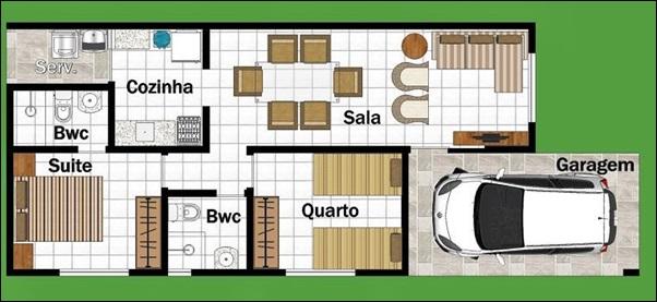 casa comprida 2 quartos