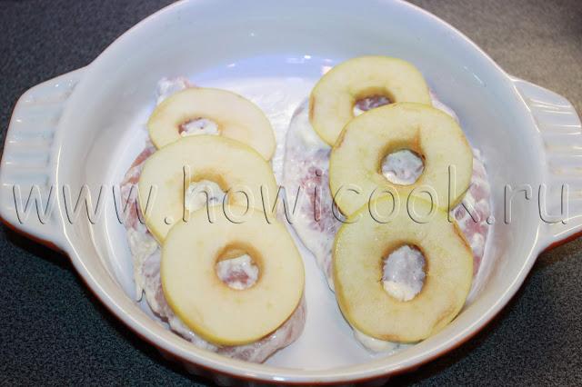 рецепт куриного филе, запеченного с яблоками и сыром с пошаговыми фото