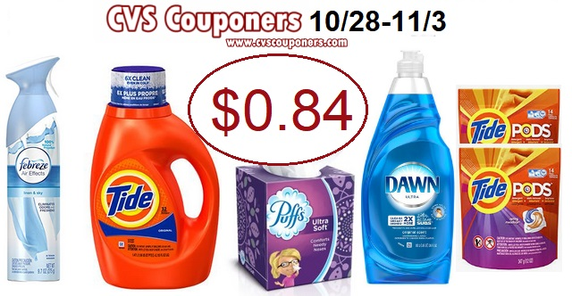 CVS: Tide, Puffs, Dawn or Febreze Only $0.84 -10/28-11/6