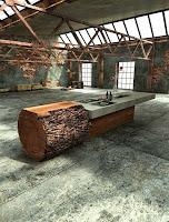 mesa hecha con un tronco de madera