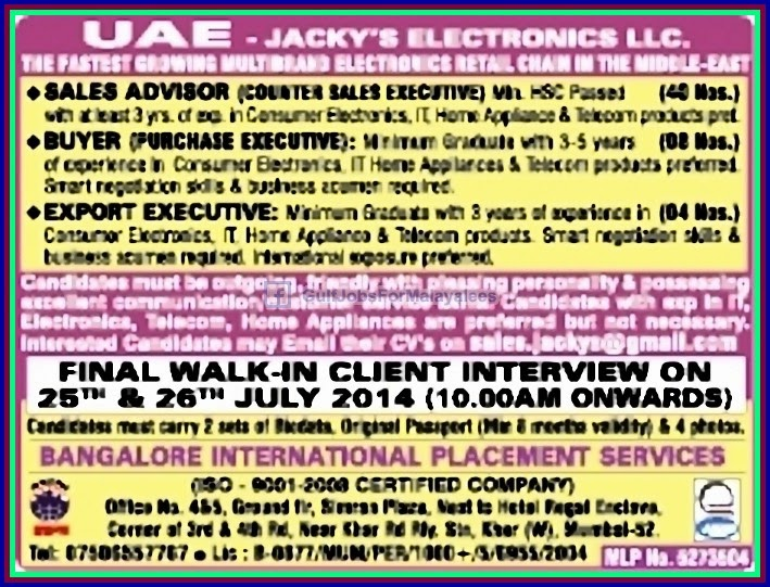 uae middle east job vacancies jackys electronics gulf jobs for malayalees - Electronics Sales Jobs
