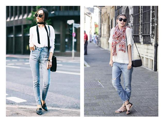 Джинсы + белая рубашка + шарф