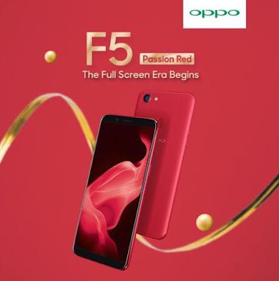 Harga OPPO F5 4GB RAM Terbaru Tersedia Warna Merah