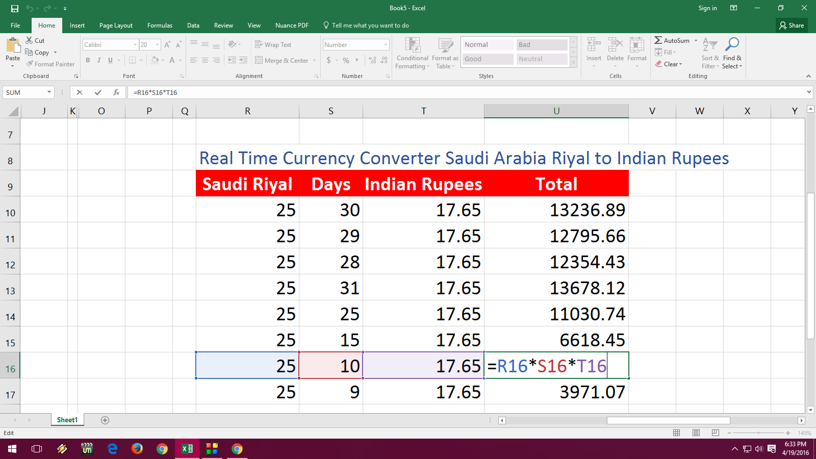 Ms Excel Real Time Currency Converter Saudi Riyal To Indian Rus