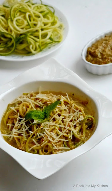 Zucchini Noodles with Roasted Red Pepper and Avocado Pesto ~ Day 64