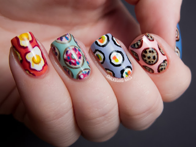 Chalkboard Nails: Seven deadly sins nail art (gluttony)