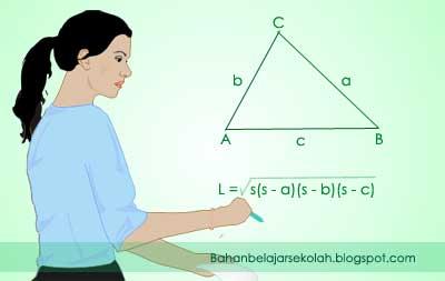 Jika panjang ketiga sisi pada segitiga siku LUAS SEGITIGA JIKA KETIGA SISINYA DIKETAHUI