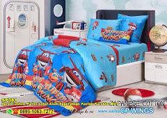 Sprei Custom Katun Lokal Anak Superwings Kartun Karakter Biru