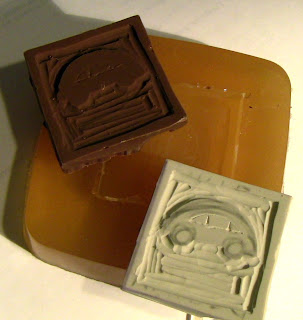 Carved a Candy Bar Mold from a Piece of Rubber.