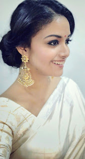 Keerthy Suresh in Saree with Cute and Awesome Smile