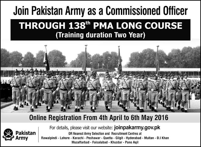 Join Pakistan Army Jobs as Commissioned Officer 138 PMA Long Course