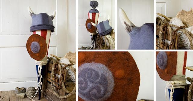 Wikinger-Zuckertüte aus Filz mit Helm und Schild