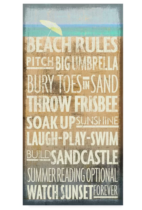 Beach Rules Wall Art on Sale
