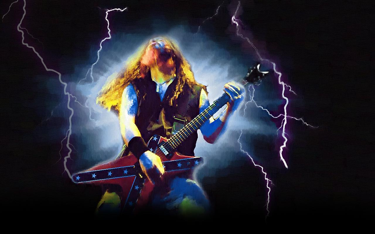 Total Metal N Rock Dimebag Darrell Con Rayos Wallpaper 1280