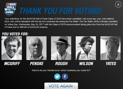 No Racing This Week? Use the Time to Vote for the #NASCAR Hall Class Of 2018