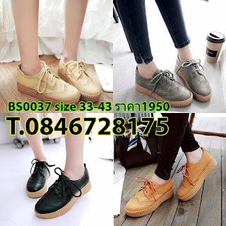 รองเท้าผ้าใบส้นหนาหนังผูกเชือกฉลุลายลูกไม้แฟชั่นเกาหลี ไซส์33-43 นำเข้า พรีออเดอร์BS0037