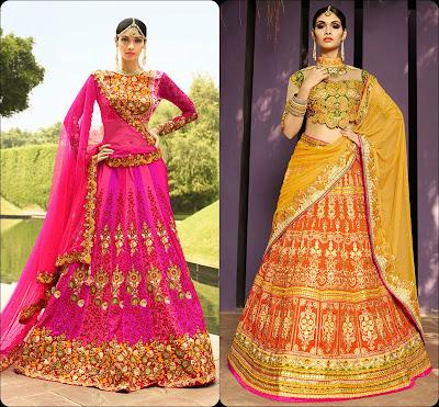 Contrast Colour Lehenga Choli, Lehenga Choli, Lehengas from Choli