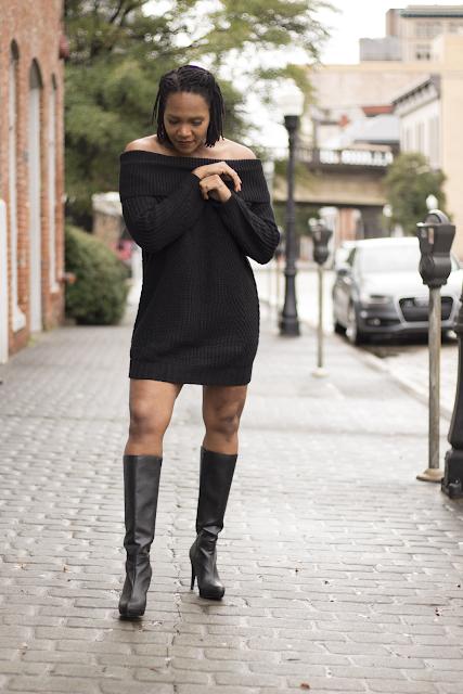 Nikki Off the Shoulder Sweater Dress