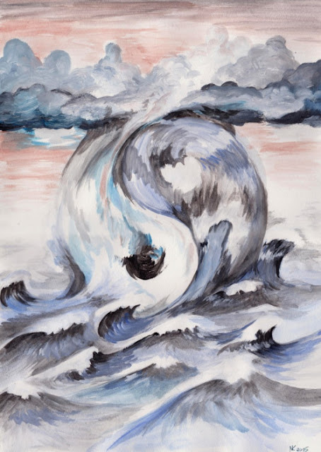 Yin Yang symbol of balance painting made from clouds and waves