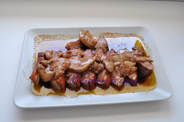 Magret de pato al oporto con foie