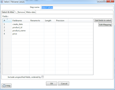 pentaho reorder fields with select values step example