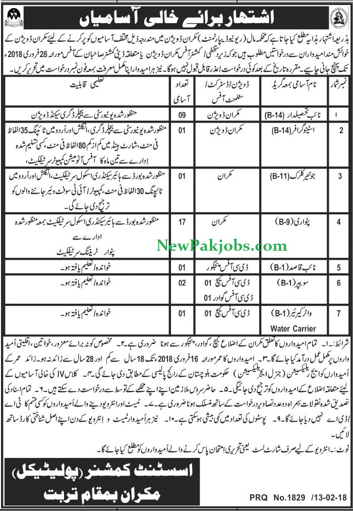 Latest 2018 Jobs in Makran Division Revenue Department,  Today Govt Vacancies