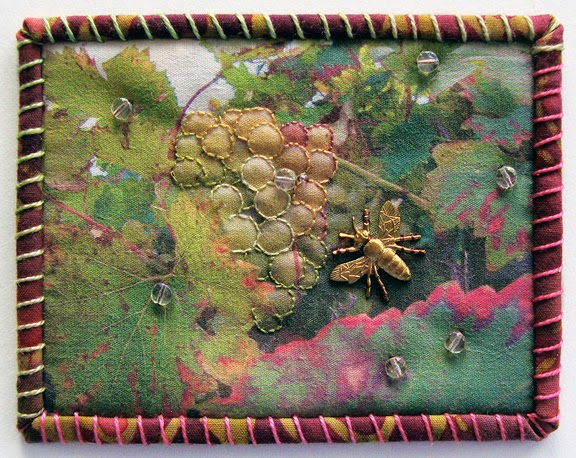 Robin Atkins, Travel Diary quilt, detail, grapes, Sonderborg, DK