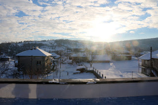 Bright sunshine over our snowy village