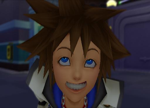 Sora Kingdom Hearts fake smile screenshot